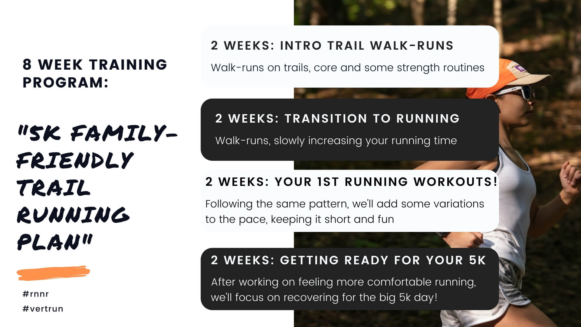 "The 8-week overview of the rnnr x vert.run ""5k Family-Friendly Trail"" plan"
