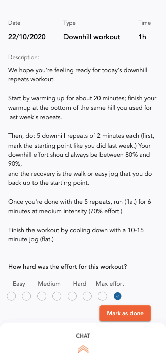 Workout description